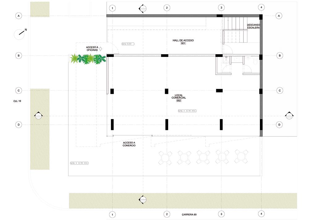 Planta Baja Estudio Proyecto Edificio 80-19