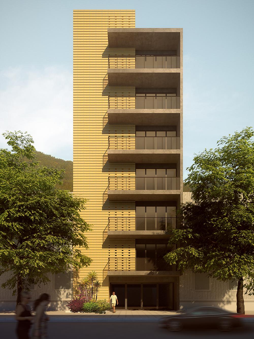 Fachada de edificio en Medellín