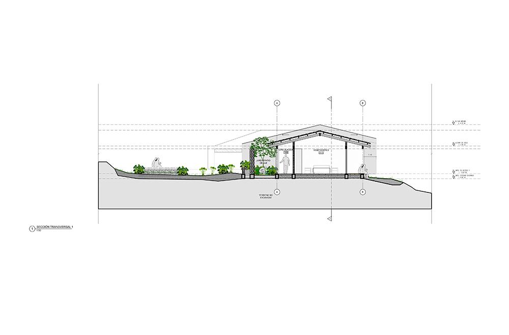 Plano fachada casa unifamiliar