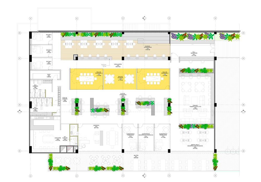 plano de diseño de oficinas