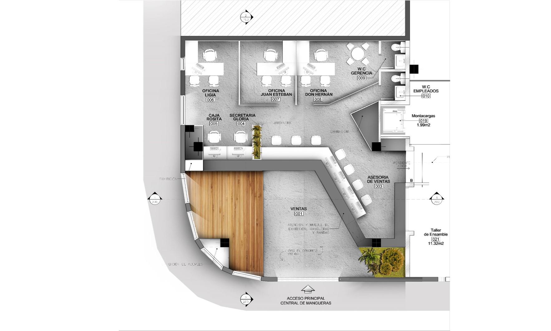 Plano diseño espacio comercial