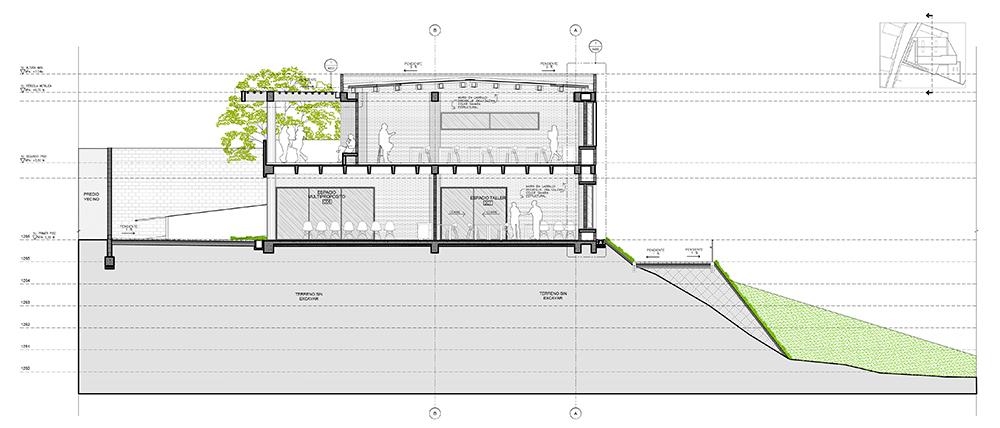 Plano fachada parque educativo