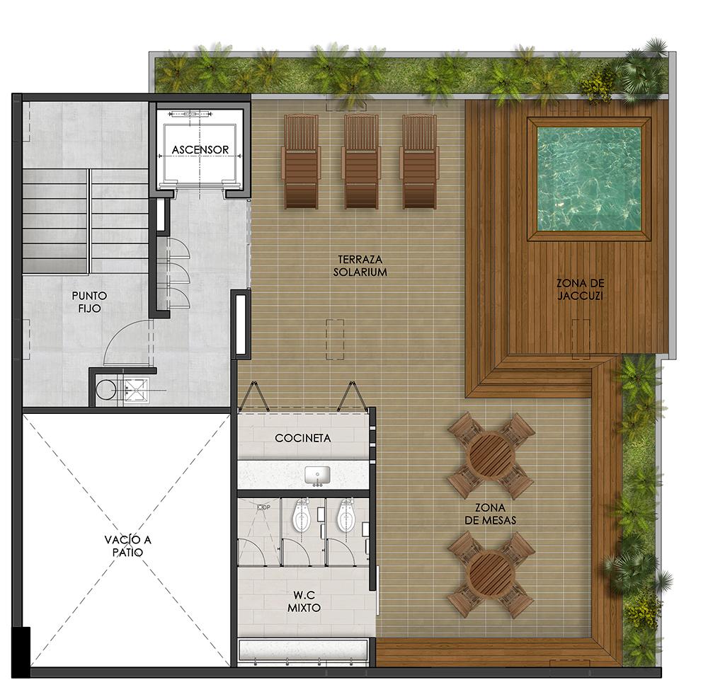 plano de terraza con piscina