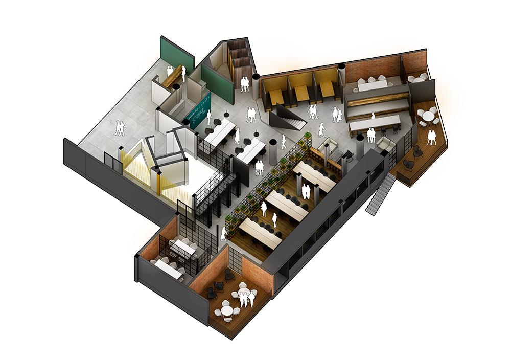 Plano 3D de la planta baja